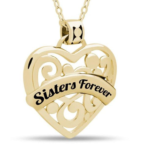 Sister Heart Necklace,  925 Silver, 14K Gold Plated Necklace Engraved w