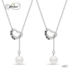 Sister Lariat Heart Necklace Set for Big Sis Lil Sis, 925 Silver, Silver Plated Freshwater Pearl Necklace