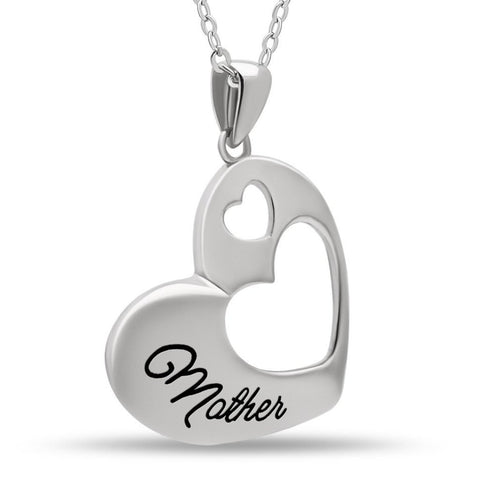 Elegant Mother Necklace, 925 Sterling Silver, Silver Plated Heart Pendant for Mother