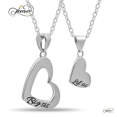 Sister Heart Necklace Set for Big Sis Lil Sis, 925 Silver, Silver Plated Necklaces