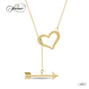 925 Sterling Silver Double Heart Necklace, Lariat Necklace, 14K Gold Plated Heart and Arrow Necklace