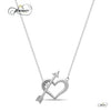925 Sterling Silver Double Heart Necklace, Lariat Necklace, Silver Plated Heart and Arrow Necklace