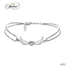 Dainty Winged Heart Bracelet with Cubic Zirconia