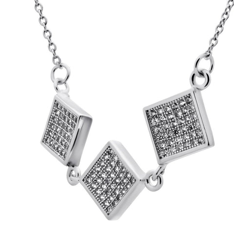 Elegant Square Necklace with Cubic Zirconia - TZARO Jewelry - 1
