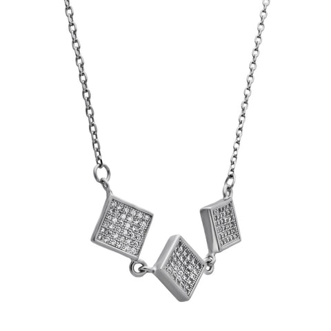 Elegant Square Necklace with Cubic Zirconia - TZARO Jewelry - 2