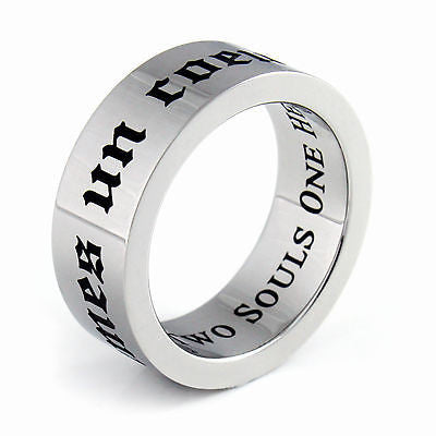 Purity Ring Two Souls One Heart Promise Ring Stainless Steel Unisex Ring Heart - TZARO Jewelry - 2