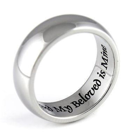 Promise Ring Purity Ring My Beloved Is Mine Stainless Steel Infinity Ring Poesy - TZARO Jewelry - 1
