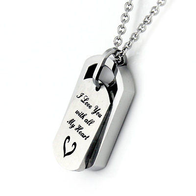 Love Pendant Necklace I Love You With All My Heart Sisters Mother - TZARO Jewelry - 2