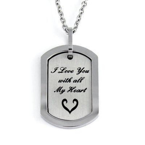 Love Pendant Necklace I Love You With All My Heart Sisters Mother - TZARO Jewelry - 1