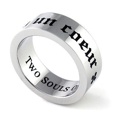 Purity Ring Two Souls One Heart Promise Ring Stainless Steel Unisex Ring Heart - TZARO Jewelry - 1