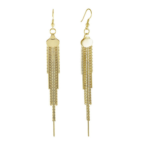 Tassel Earrings, 925 Sterling Silver, 14K Gold Plated Multiple Chain Earrings