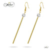 Long Bar Dangle Earrings, 925 Sterling Silver, 14K Gold Plated Bar Drop Earrings