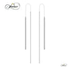 Threader Earrings, 925 Sterling Silver, Silver Plated Long Drop Bar Earrings