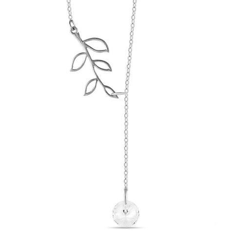 Tree Branch Lariat Necklace, 925 Sterling Silver, Silver Plated Twig Pendant