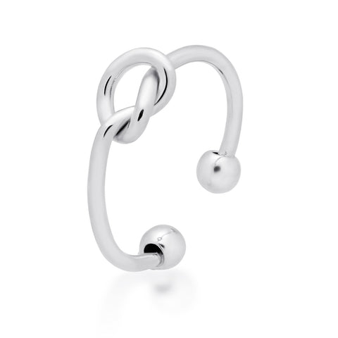 Dainty Knot Ring, 925 Sterling Silver, Adjustable Silver Plated Ring - TZARO Jewelry - 2