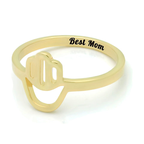 Gold Hamsa Ring for Mom - 18K Gold Mothers Ring Engraved on Inside with