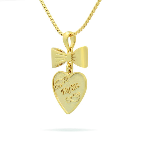 18K Gold Sister Heart Necklaces - Gold Heart Sister Necklace, Engraved with