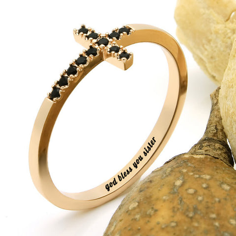 Cross Ring for Sister - Gold Sister Ring Engraved on Inside with