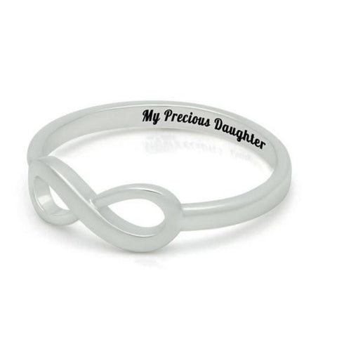 Silver Infinity Daughter Ring - Tiny Silver Ring for Daughter Engraved on Inside with