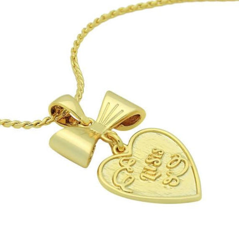 Gold Heart Necklace Engraved with