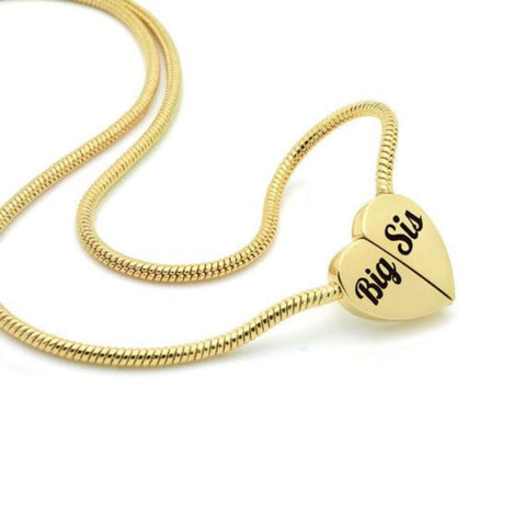 Gold Heart Big Sister Necklace on Magnet Connectors Engraved with