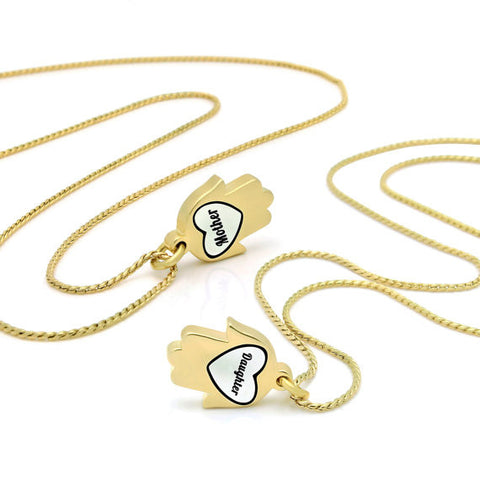Gold Hamsa Hand Mother Daughter Necklace Set Engraved with