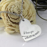 I Love You With All My Heart Love Necklace Pendant Stainless Steel Necklace - TZARO Jewelry - 1