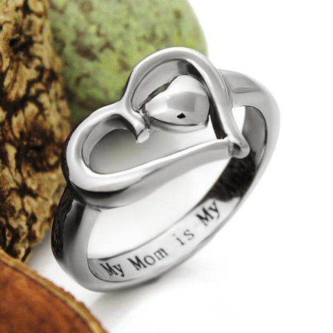 Mothers Heart Ring Mother Ring Gift For Mother - My Mom is My Angel, Mother Daughter Forever - TZARO Jewelry - 1