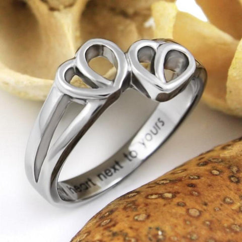 Couples Ring, Love Gift - Double Hearts Couples Ring Engraved on Inside with