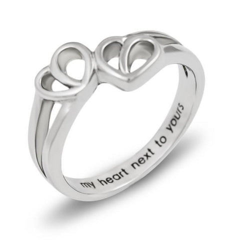 Double Hearts Promise Ring My Heart Next to Yours Best Gift Purity Ring Love - TZARO Jewelry - 1