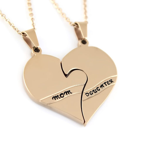 Gold Daughter Mother Necklace Heart Gold Purity Pendant Infinity Necklace (2pcs) - TZARO Jewelry - 1