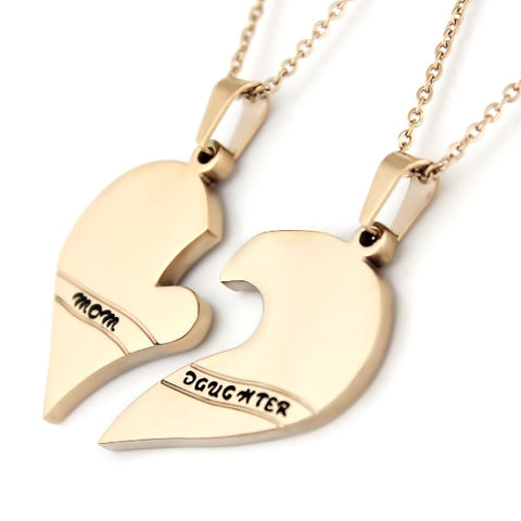 Gold Daughter Mother Necklace Heart Gold Purity Pendant Infinity Necklace (2pcs) - TZARO Jewelry - 2