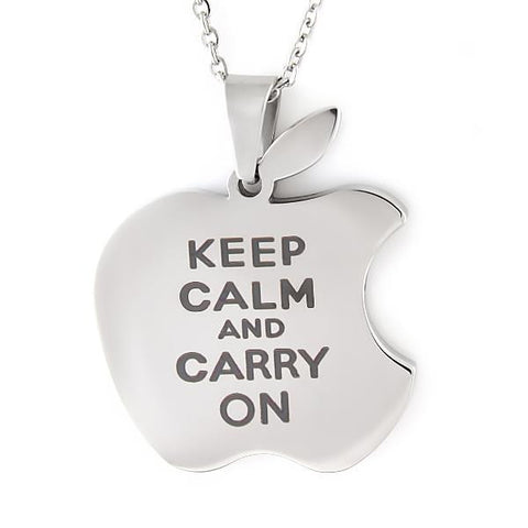 Necklace for Friend Apple, Keep Calm Carry On Apple Necklace, Necklace Apple Logo - TZARO Jewelry - 1