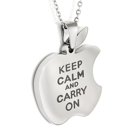 Necklace for Friend Apple, Keep Calm Carry On Apple Necklace, Necklace Apple Logo - TZARO Jewelry - 2