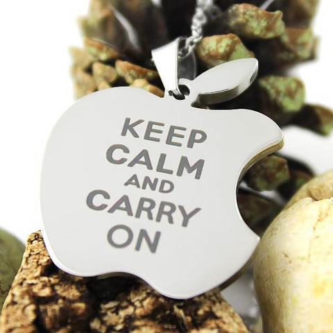 Friends Necklace Keep Calm Carry On Apple Necklace Infinity Apple Logo Necklace - TZARO Jewelry - 1