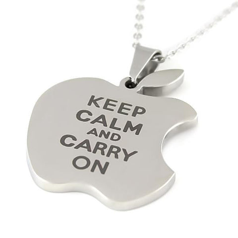 Friends Necklace Keep Calm Carry On Apple Necklace Infinity Apple Logo Necklace - TZARO Jewelry - 2