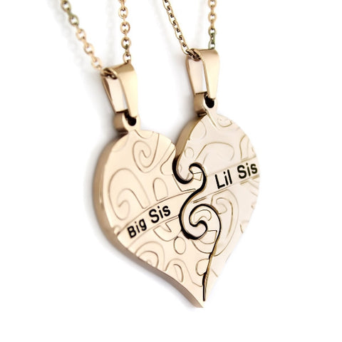 Gold Necklace Big Sis & Lil Sis Sister , Heart Gold Pendant Necklaces Set (2pcs) - TZARO Jewelry - 1
