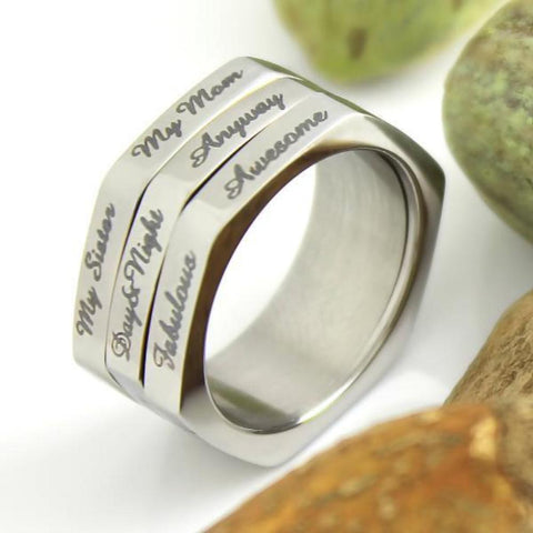 3 Line Spinner Ring, Compliment Generator, Mother Ring, Sister Ring, Daughter Ring, Mother Daughter Forever - TZARO Jewelry - 1