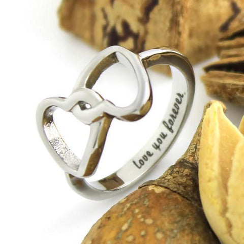 Infinity Ring Lovers Ring Double Hearts Promise Couples Ring