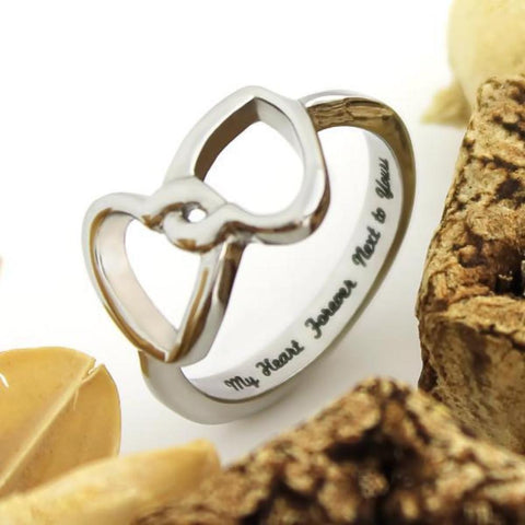 Couples Ring Double Hearts Lovers Promise Ring Wedding Ring