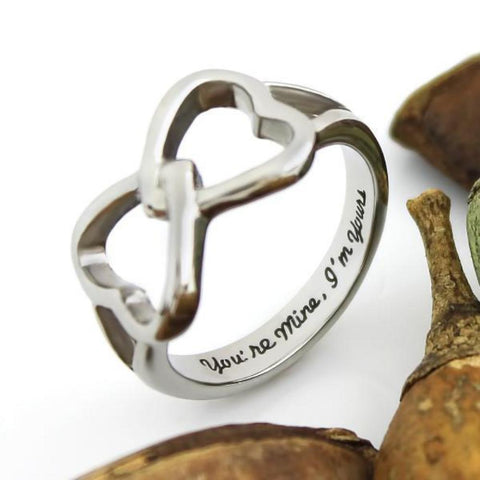 Couples Ring Double Hearts Infinity Ring Promise Ring Wedding Ring