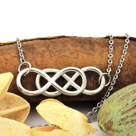 Medium Double Infinity Necklace, Infinity Symbol Pendant, Friends Necklace - TZARO Jewelry - 1