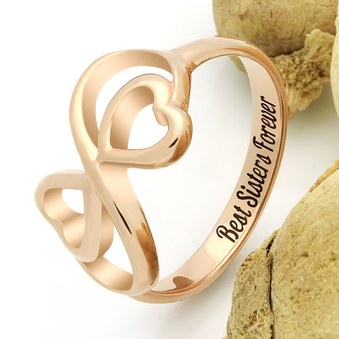 Sister Double Heart Ring, Promise Sister Ring, Heart Ring