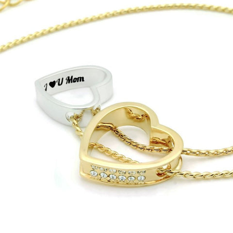 Mother Gold Heart Necklace Engraved with