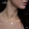 Tiny 925 Silver Necklace, Floating Silver Plated Heart Necklace, Simple Heart Charm