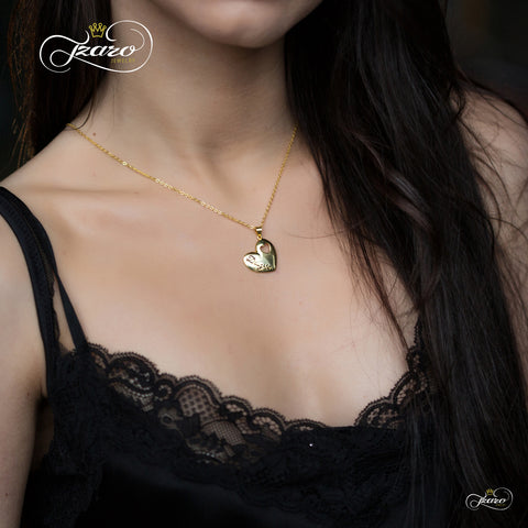 Elegant Daughter Necklace, 925 Silver, 14k Gold Plated Heart Necklace for Child