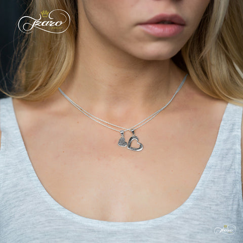 Sister Heart Necklace Set for Big Sis Lil Sis, 925 Silver, 14K Gold Plated Necklaces - TZARO Jewelry - 1