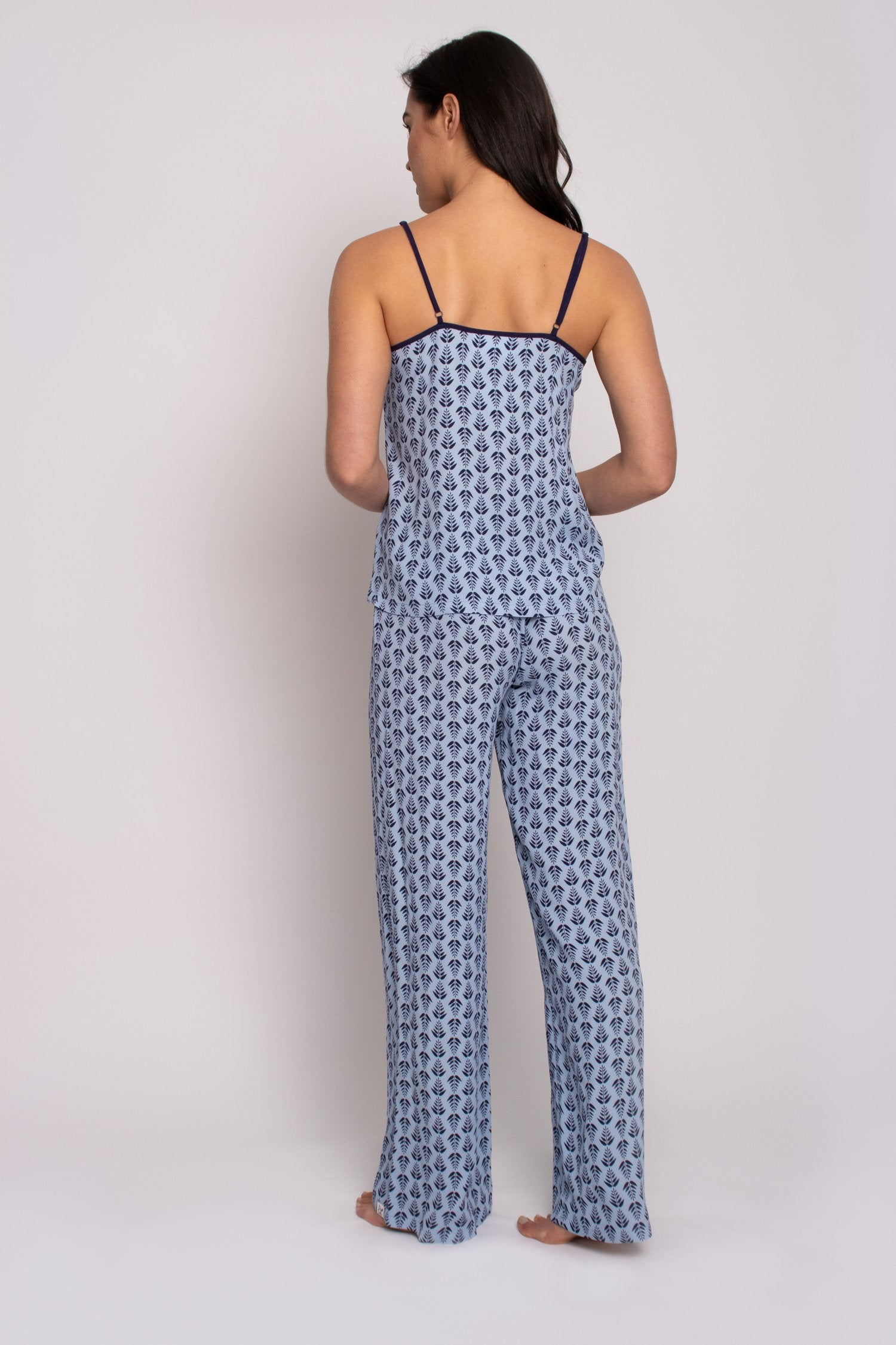 EcoVero Cami Pant Set in Blue-Sleepwear-J Steed
