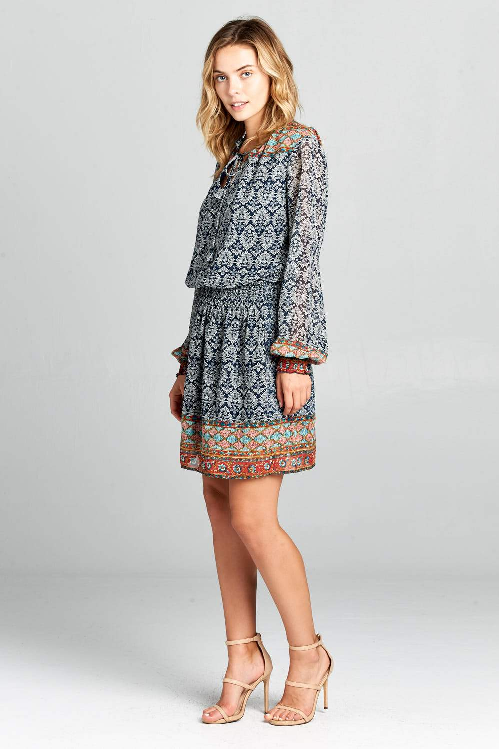 PRINT LONG SLEEVE WAIST CINCHED DRESS-Women's Clothing-J Steed
