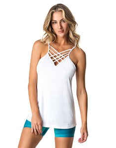 TANK TOP 243 STRAPPY BASIC WHITE-Activewear-J Steed